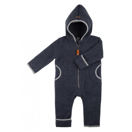 pure pure by BAUER - Bio Baby Fleece Overall mit Kapuze, Wolle, marine