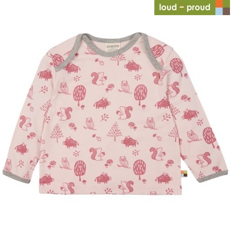 loud + proud - Bio Kinder Langarmshirt mit Waldtiere-Allover, rose