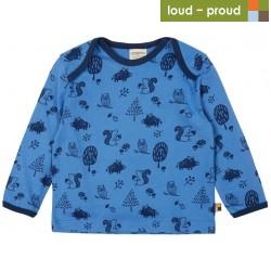 loud + proud - Bio Kinder Langarmshirt mit Waldtiere-Allover, indigo