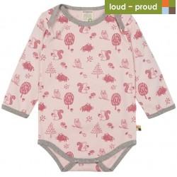 loud + proud - Bio Baby Body langarm mit Waldtiere-Allover, rose