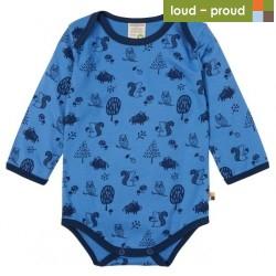 loud + proud - Bio Baby Body langarm mit Waldtiere-Allover, indigo