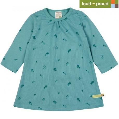 loud + proud - Bio Kinder Strukturjersey Kleid mit Pilz-Allover, oregano