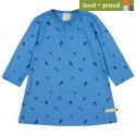 loud + proud - Bio Kinder Strukturjersey Kleid mit Pilz-Allover, indigo