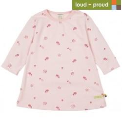 loud + proud - Bio Kinder Strukturjersey Kleid mit Pilz-Allover, rose