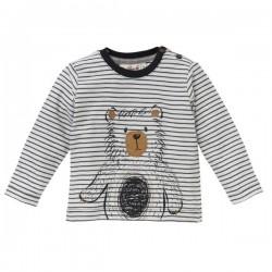 People Wear Organic - Bio Baby Langarmshirt mit Bären-Druck und Streifen