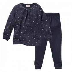 People Wear Organic - Bio Kinder Schlafanzug mit Vogel-Allover, blau