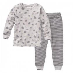 People Wear Organic - Bio Kinder Schlafanzug mit Mammut-Allover und Streifen