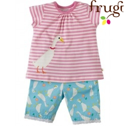"frugi - Bio Baby Set ""Little Peony"" T-Shirt + Shorts mit Ente"