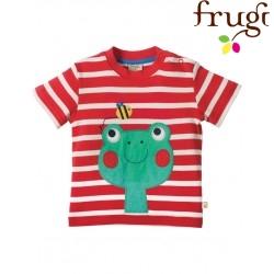 """frugi - Bio Baby T-Shirt """"Little Fal"""" mit Frosch und Streifen"""