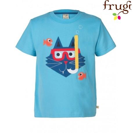 """frugi - Bio Kinder T-Shirt """"Stanley"""" mit Katzen-Motiv"""
