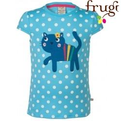 """frugi - Bio Kinder T-Shirt """"Poldhu"""" mit Katzen-Motiv und Punkten"""