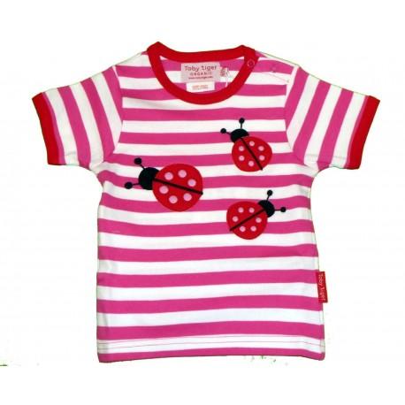 Toby tiger - Bio Baby Langarmshirt mit Marienkäfer-Motiv und Punkten