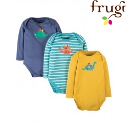 "frugi - Bio Baby Body 3er-Pack ""Dino"""