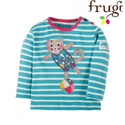 """frugi - Bio Baby Langarmshirt """"Button"""" mit Katzen-Motiv und Streifen"""