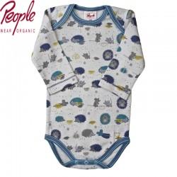 People Wear Organic - Bio Baby Body langarm mit Waldtieren-Motiv