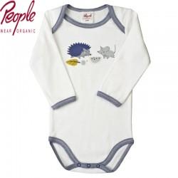 "People Wear Organic - Bio Baby Body langarm mit ""Maus und Igel""-Motiv"