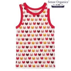 "Sense Organics - Bio Kinder Unterhemd ""Dana Retro"" mit Katzendruck"