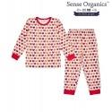 "Sense Organics - Bio Kinder Schlafanzug ""Long John Retro"" mit Katzendruck"