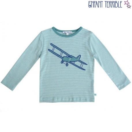Enfant Terrible - Bio Kinder Langarmshirt mit Flugzeug-Motiv