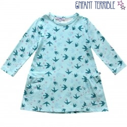 Enfant Terrible - Bio Kinder Sweatkleid mit Schwalben-Motiv