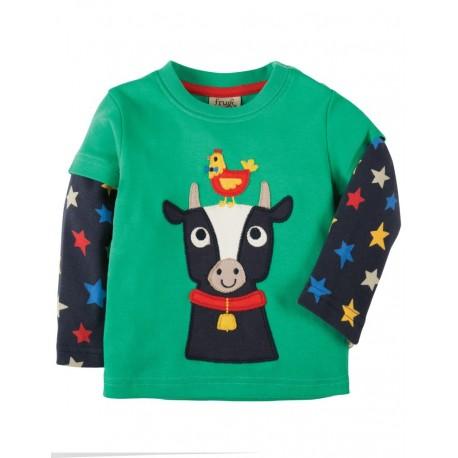 frugi - Bio Baby Langarmshirt mit Kuh-Motiv und Sternen
