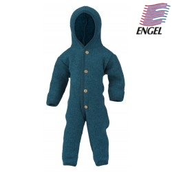 ENGEL - Bio Baby Fleece Overall mit Kapuze, Wolle, petrol