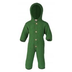 ENGEL - Bio Baby Fleece Overall mit Kapuze, Wolle, grün