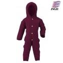 ENGEL - Bio Baby Fleece Overall mit Kapuze, Wolle, beere