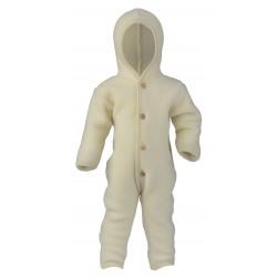 ENGEL - Bio Baby Fleece Overall mit Kapuze, Wolle, weiß