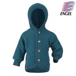 ENGEL - Bio Baby Fleece Jacke mit Kapuze, Wolle, petrol