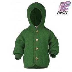 ENGEL - Bio Baby Fleece Jacke mit Kapuze, Wolle, grün