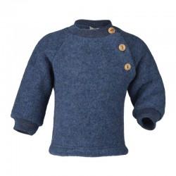 ENGEL - Bio Baby Fleece Pullover mit Holzknöpfen, Wolle, ocean