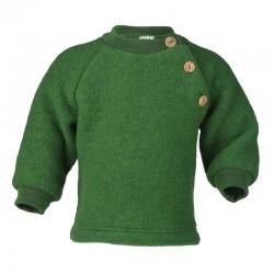ENGEL - Bio Baby Fleece Pullover mit Holzknöpfen, Wolle, grün