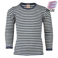 ENGEL - Bio Kinder Unterhemd langarm gestreift, Wolle, blau