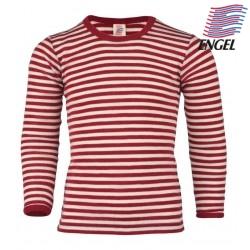 ENGEL - Bio Kinder Unterhemd langarm gestreift, Wolle, rot