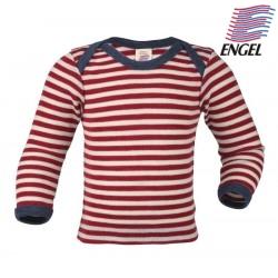 ENGEL - Bio Baby Schlupfhemd langarm gestreift, Wolle, rot