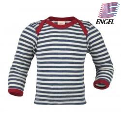 ENGEL - Bio Baby Schlupfhemd langarm gestreift, Wolle, blau