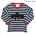 Toby tiger - Bio Baby Langarmshirt mit Fledermaus-Motiv und Streifen