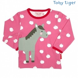 Toby tiger - Bio Baby Langarmshirt mit Pferde-Motiv und Äpfeln
