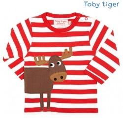 Toby tiger - Bio Baby Langarmshirt mit Elch-Motiv und Streifen