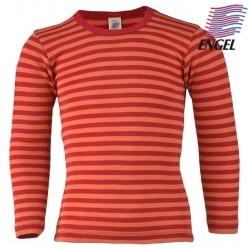 ENGEL - Bio Kinder Unterhemd langarm gestreift, Wolle/Seide