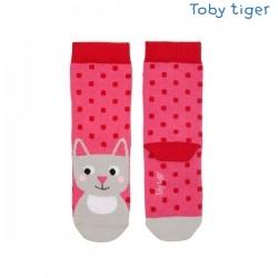 Toby tiger - Bio Kinder Socken mit Katzen und Punkten