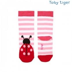 Toby tiger - Bio Kinder Socken mit Marienkäfern und Streifen
