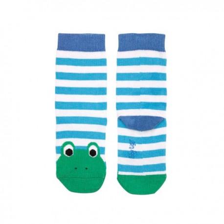 Toby tiger - Bio Kinder Socken mit Fröschen und Streifen