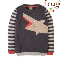 frugi - Bio Kinder Strick Pullover mit Hai-Motiv