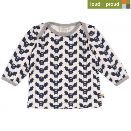 407268eca230 loud + proud - Bio Baby Langarmshirt mit Fledermaus-Druck ...