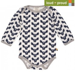 loud + proud - Bio Baby Body langarm mit Fledermaus-Druck