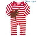 Toby tiger - Bio Baby Strampler mit Elch-Motiv und Streifen