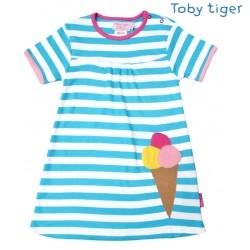 Toby tiger - Bio Kinder Kleid mit Eis-Motiv und Streifen