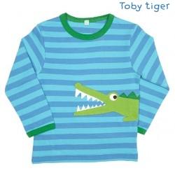 Toby tiger - Bio Baby Langarmshirt mit Krokodil-Motiv und Streifen